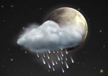 illustration of cool single weather icon - moon with raincloud and raindrops in the night sky Vector