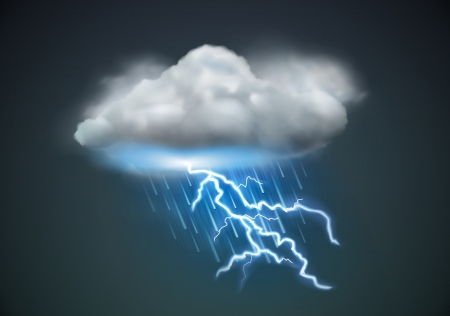 rainy season: illustration of cool single weather icon - cloud with heavy fall rain and lightning in the dark sky