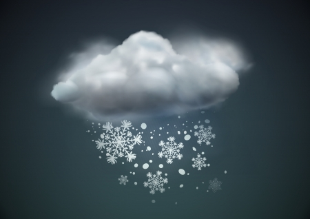 snow fall: illustration of cool single weather icon - cloud with snow in the dark sky