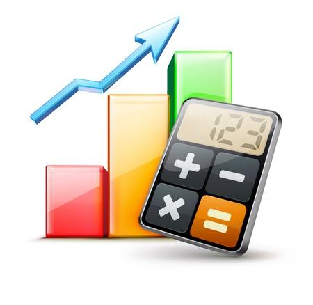 rekenmachine: illustratie van zakelijk concept met calculator icoon en financiën grafiek Stock Illustratie