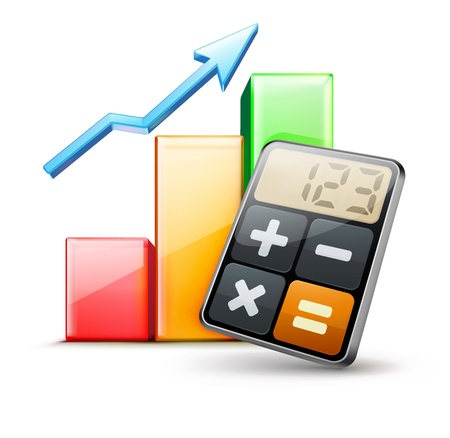 accounting design: illustration of business concept with calculator icon and finance graph