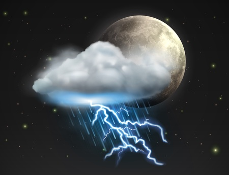 is raining: illustration of cool single weather icon - moon with cloud, heavy fall rain and lightning in the night sky