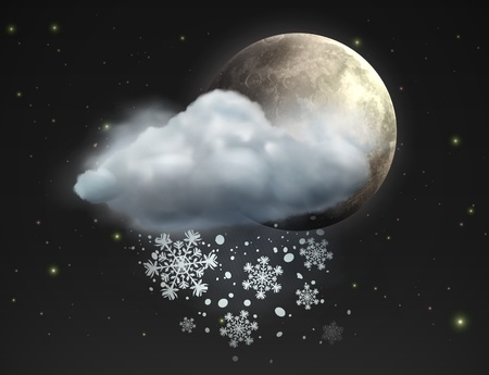 snow fall: illustration of cool single weather icon - moon with cloud and snow in the night sky Illustration
