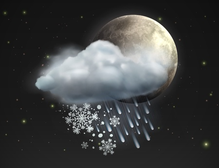 hailstorm: illustration of cool single sleet weather icon moon with cloud, snow and rain in the night sky