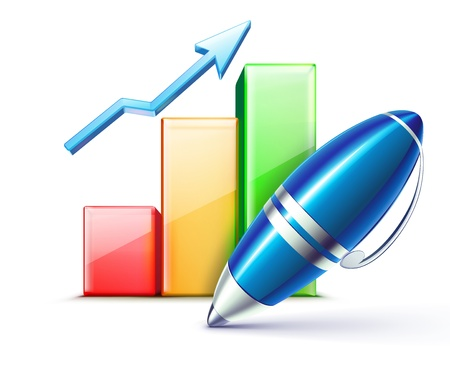 indicators: illustration of business concept with finance graph and  elegant ballpoint pen
