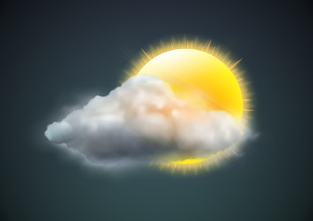 cloudy weather: illustration of cool single weather icon - sun with cloud floats in the dark sky