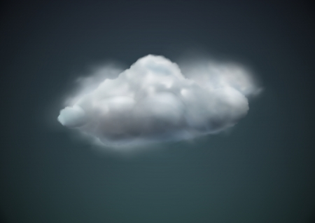 illustration of cool single weather icon - cloud floats in the dark sky