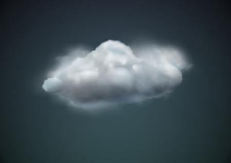 nubes caricatura: ilustraci�n del icono de fr�o meteorol�gico individual - carrozas de nubes en el cielo oscuro Vectores