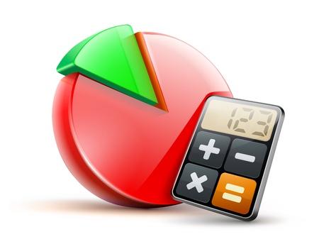 rekenmachine: illustratie van zakelijk concept met calculator icoon en de financiële taart diagram Stock Illustratie