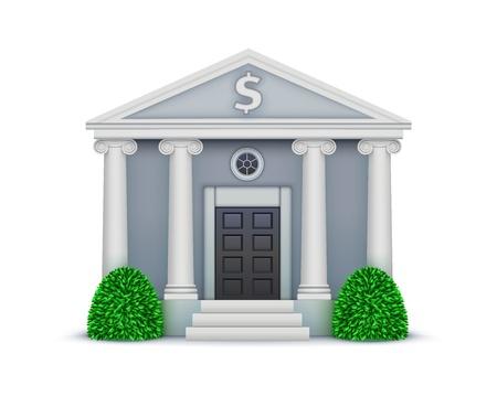 illustratie van koele gedetailleerde bank-pictogram op een witte achtergrond.