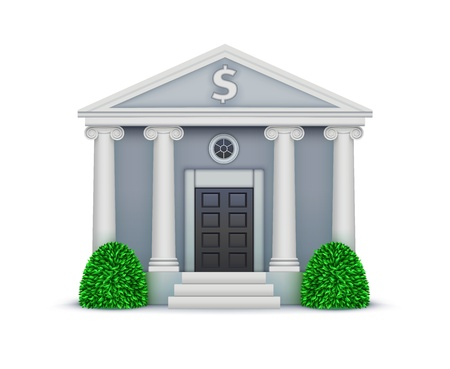 illustration of cool detailed bank icon isolated on white background.