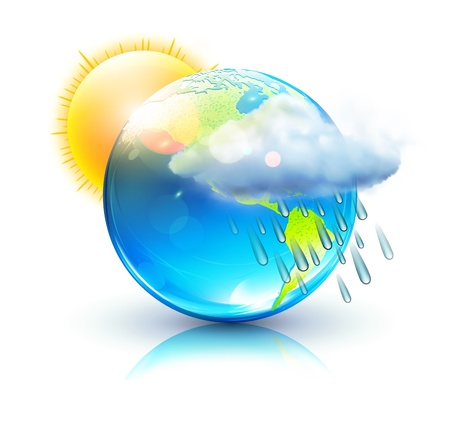 is raining: illustration of cool single weather icon &acirc,%uFFFD%uFFFD blue globe with sun, raincloud and raindrops