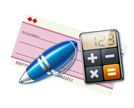 ballpoint: illustration of business concept with bank check, elegant ballpoint pen and calculator icon