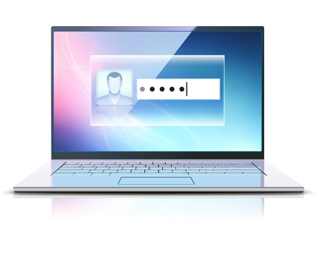 illustration of computer security concept with locked modern laptop  Vector