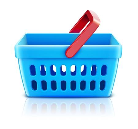 shoppingcart: Vector illustration of empty supermarket shopping basket isolated on white background. Illustration