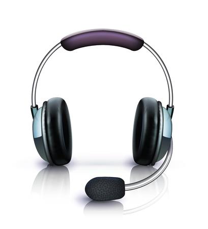 headset business: Illustrazione vettoriale di cuffie fredde con l'icona del microfono isolato su sfondo bianco Vettoriali