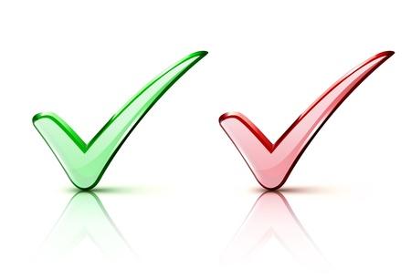 check icon: Ilustraci�n vectorial de los iconos de la marca de verificaci�n roja y verde Vectores