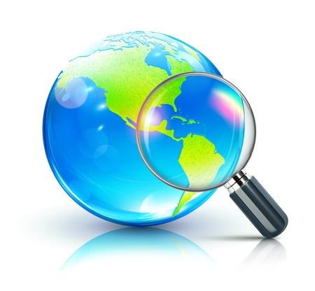 Vector illustratie van de wereldwijde zoektocht concept met blauwe glanzende wereld met de Amerika's en vergrootglas