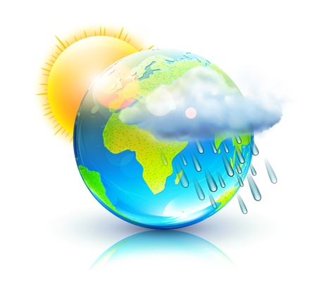 raincloud: Vector illustration of cool single weather icon – blue globe with sun, raincloud and raindrops