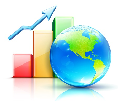 Vector illustration of global business concept with finance graph and blue glossy globe showing the Americas Vector