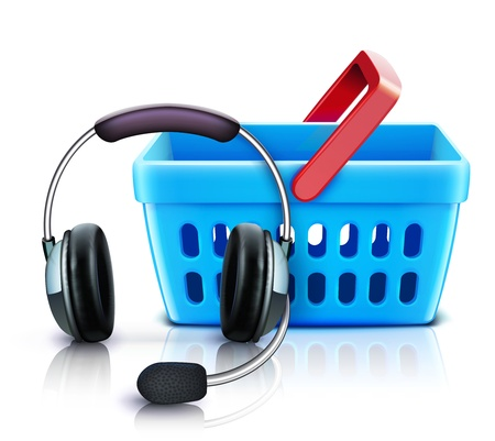 hands free device: Vector illustration of online shopping support concept with headset and supermarket basket  Illustration