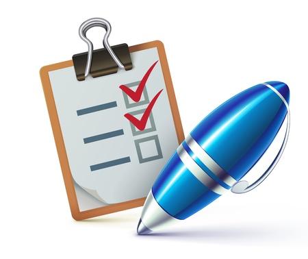 Vector illustratie van een checklist op een klembord met een elegante balpen afvinken taken