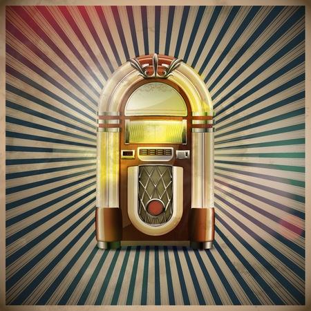 Vector illustratie van stijl gedetailleerde klassieke jukebox op retro grunge achtergrond