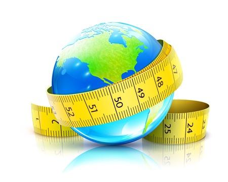cintas metricas: Vector ilustración de concepto de dieta global con globo azul brillante y cinta métrica amarilla Vectores