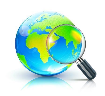 zoom earth: Vector illustration of search concept with magnifying glass and blue glossy globe showing Europe and Africa