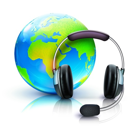 Vector illustration of global online support concept with headset and blue glossy globe