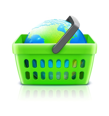 Vector illustration of global shopping concept with supermarket basket containing  globe Vector