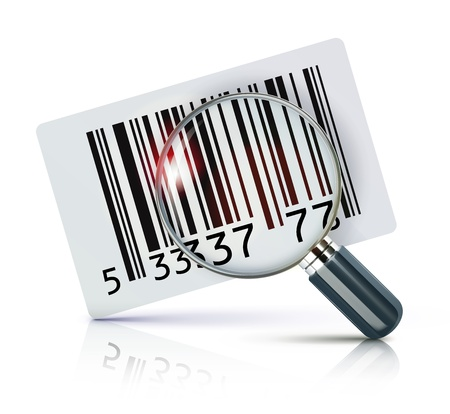 inventario: Ilustraci�n vectorial de etiqueta de c�digo de barras de identificaci�n fresca con lupa