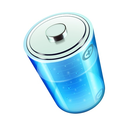 electrolyte: Vector illustration of blue battery icon for web design isolated on the white background