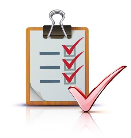 riferire: Illustrazione vettoriale di successo con il concetto di lista di controllo raffreddare su clipboard