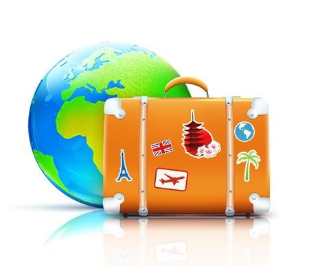 Vector ilustración del concepto global de viajes con la maleta funky retro y un globo brillante fresco