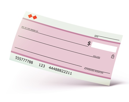 blank check: Vector illustration of bank check isolated on the white background Illustration