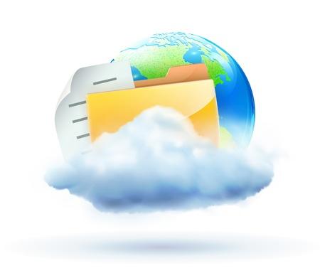 server storage: Vector illustration of cool global communication concept