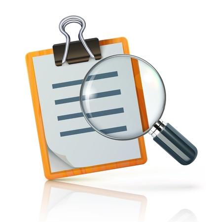Illustrazione vettoriale di concetto di ricerca con check list sul clipboard e lente di ingrandimento