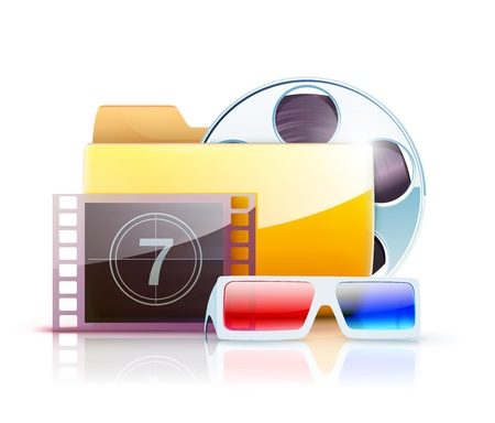 computer animation: Vector illustration of yellow interface computer digital video folder icon with large simple film reel and 3d glasses Illustration