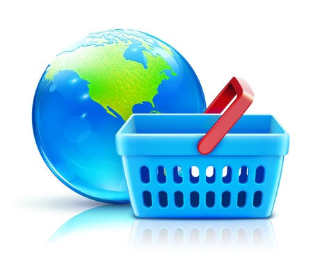 online purchase: Vector illustration of global shopping concept with supermarket basket and cool glossy globe