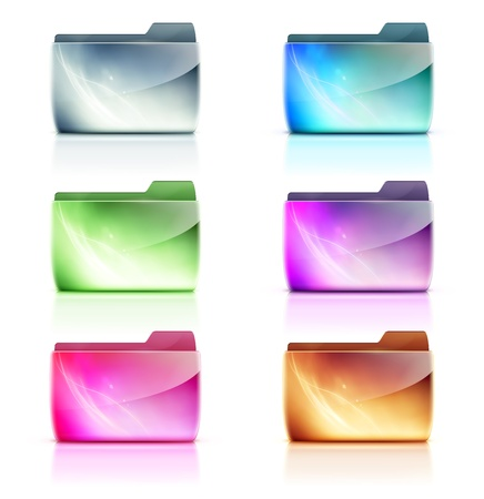 folder icons: Vector illustration set of cool colorful interface computer folder icons