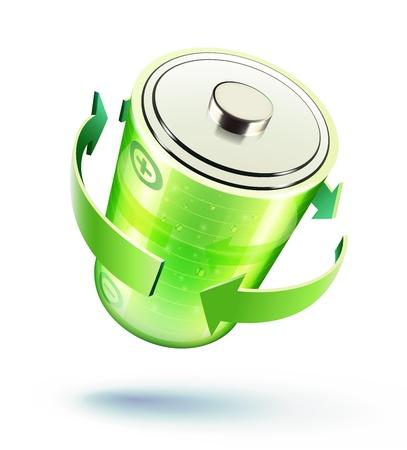 recarga: Ilustraci�n del vector del icono de la bater�a verde para el dise�o de p�ginas web aislados sobre el fondo blanco
