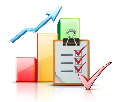 Ilustración del vector de éxito empresarial concepto con el gráfico de las finanzas y la lista de control en el portapapeles