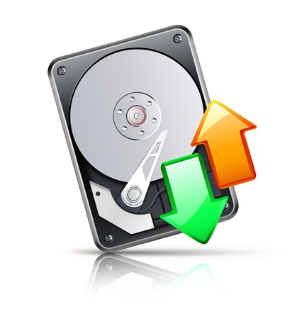 Vector illustration of computer download and upload concept with opened hard drive disk