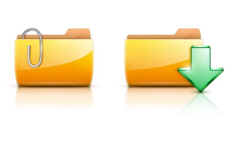 Vector illustration of two yellow interface computer folder icon