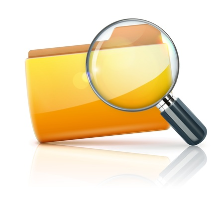 zvětšovací sklo: Vektorové ilustrace vyhledávací konceptu se žlutou ikonu složky a zvětšovací sklo