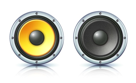 loud   speakers: Vector illustration of detailed sound loud speakers on white background Illustration