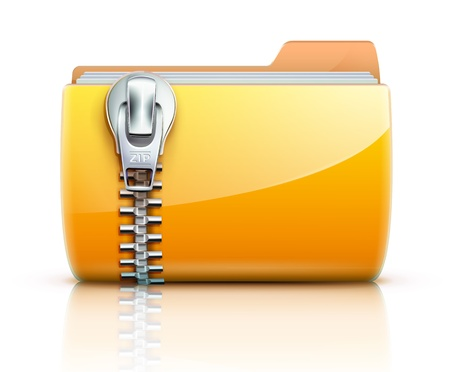 zipped: illustration of yellow interface computer zip folder icon Illustration