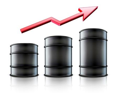 oliedrum: illustratie van drie black metal olie vaten met een rode pijl laten zien een stijging van benzine-consumptie of stijging van de een kostprijs van olie Stock Illustratie