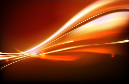 blurred motion: illustration of neon abstract background made of blurred magic orange light curved lines